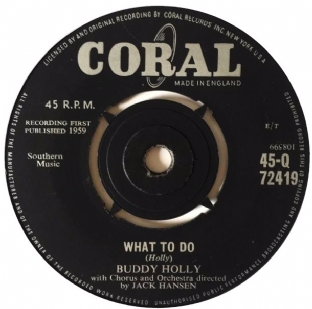 "Buddy Holly ‎- What To Do (7"") (G+/NM)"